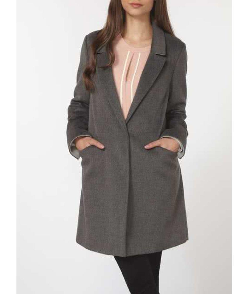 Tmavě šedý kabát s kapsami Dorothy Perkins