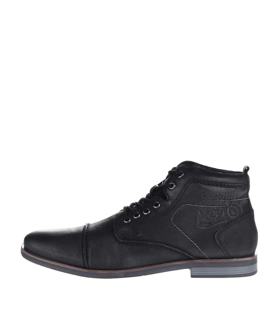Černé pánské kožené šněrovací kotníkové boty bugatti Abramo