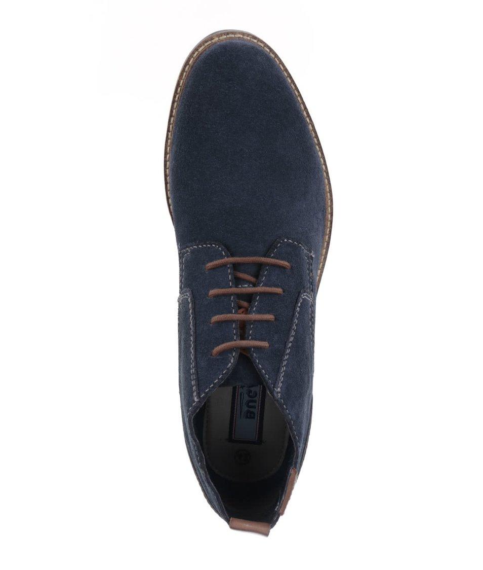 Tmavě modré pánské kotníkové boty v semišové úpravě bugatti Vanity Evo