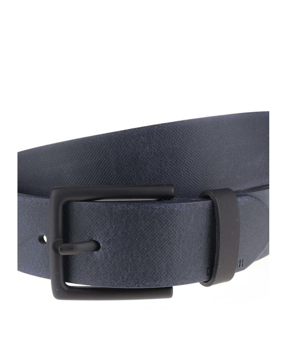 Tmavě modrý kožený pásek se sponou Jack & Jones Coated
