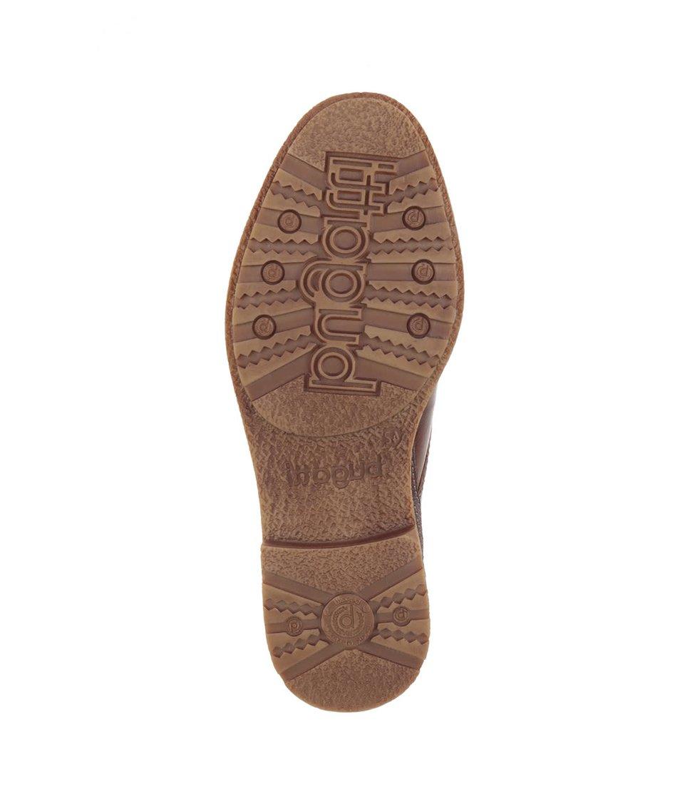 Hnědé pánské kožené kotníkové boty bugatti Muno