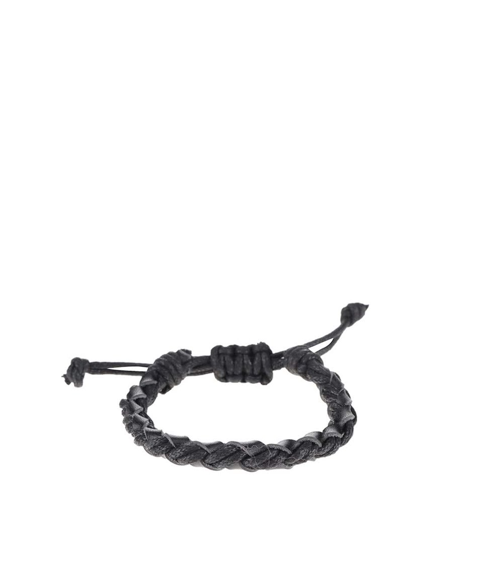 Černý kožený pletený náramek Jack & Jones Wood