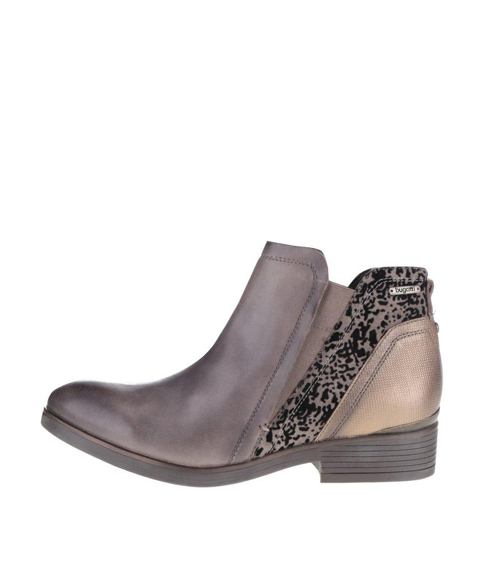 Hnědé dámské kotníkové boty s detaily bugatti Insa
