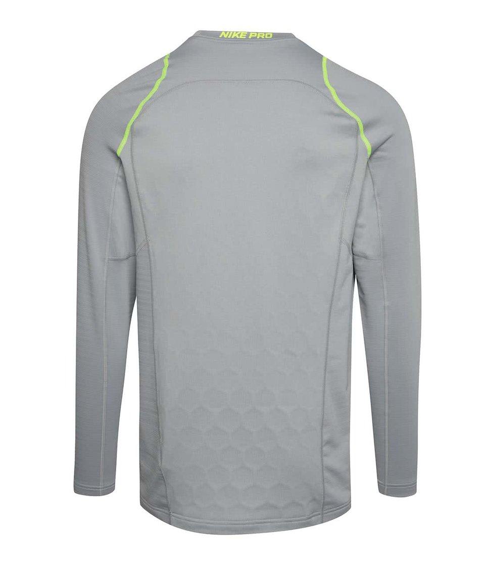 Šedé pánské funkční triko s dlouhým rukávem Nike Pro Hyperwarm
