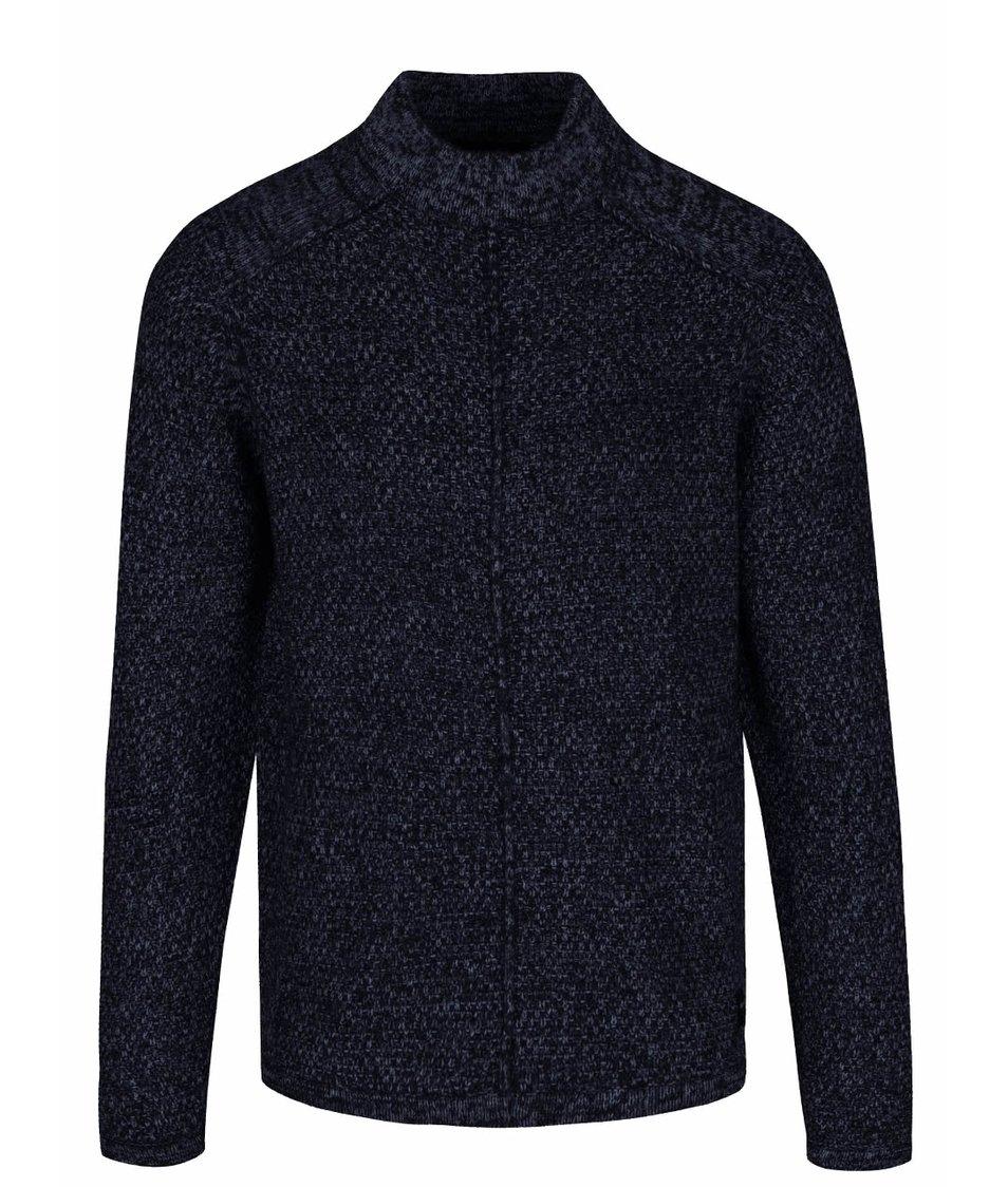 Modro-černý žíhaný svetr s nízkým rolákem ONLY & SONS Pablo