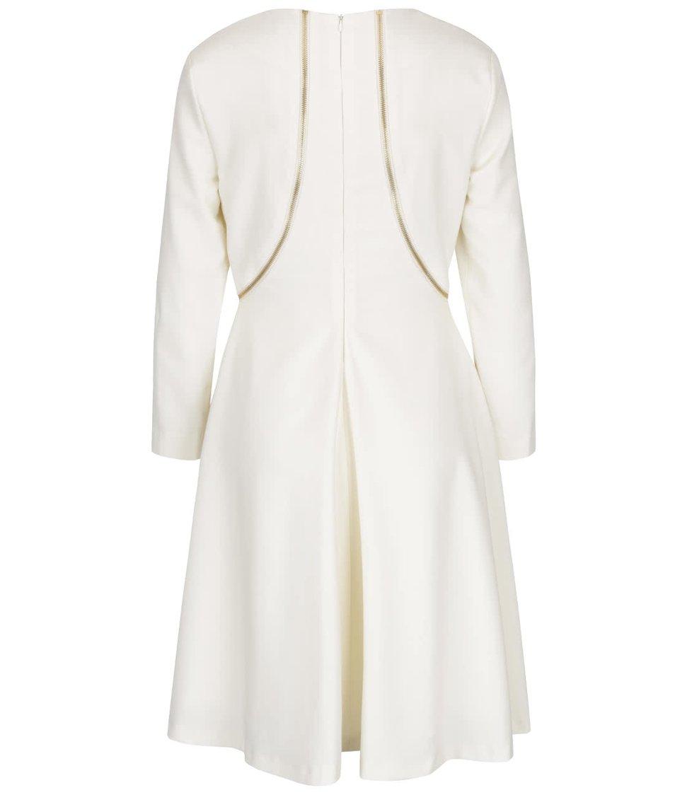 Krémové šaty s ozdobnými zipy ve zlaté barvě a 3/4 rukávy Pietro Filipi