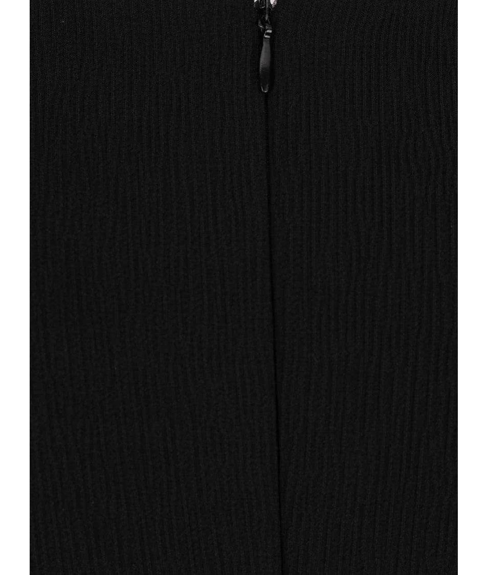 Černé šaty s krajkovanými lemy a 3/4 rukávy Pietro Filipi