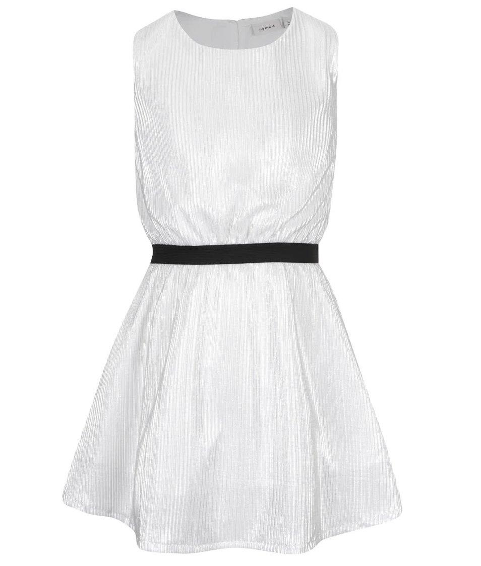 Bílé holčičí plisované lesklé šaty name it Othili
