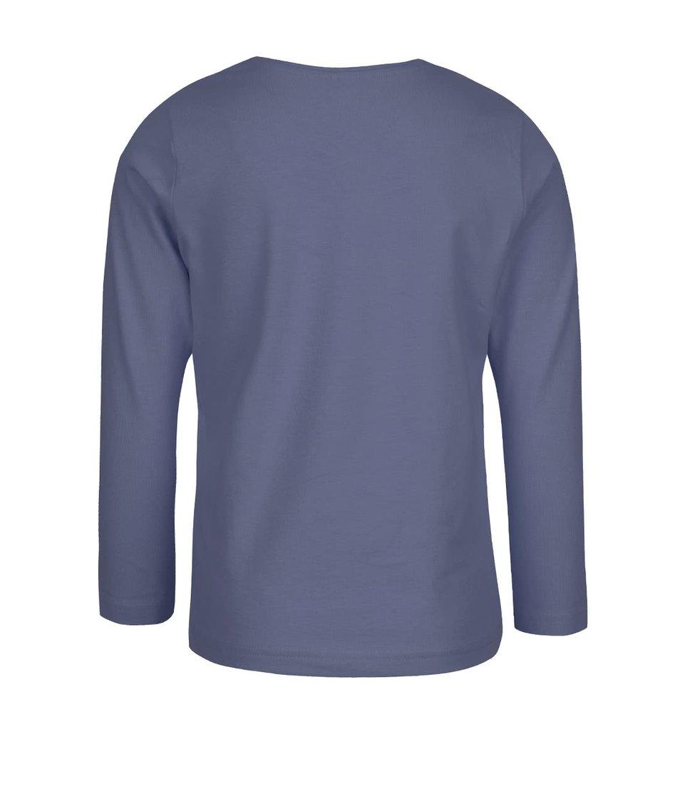 Šedomodré holčičí tričko s potiskem a dlouhým rukávem name it Kalise