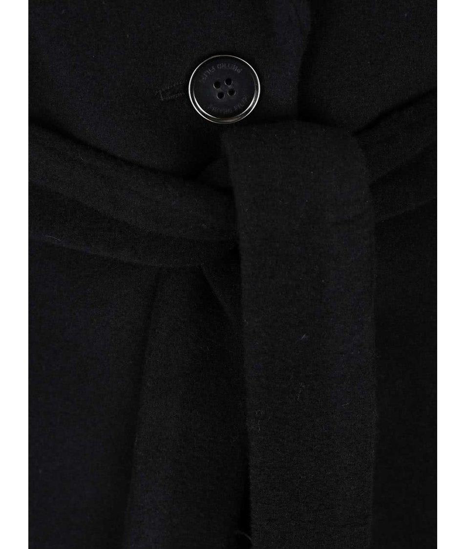 Černý dámský vlněný kabát s páskem Pietro Filipi