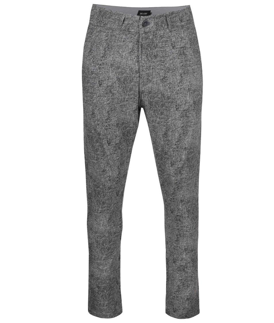 Šedé žíhané chino kalhoty ONLY & SONS Fisher