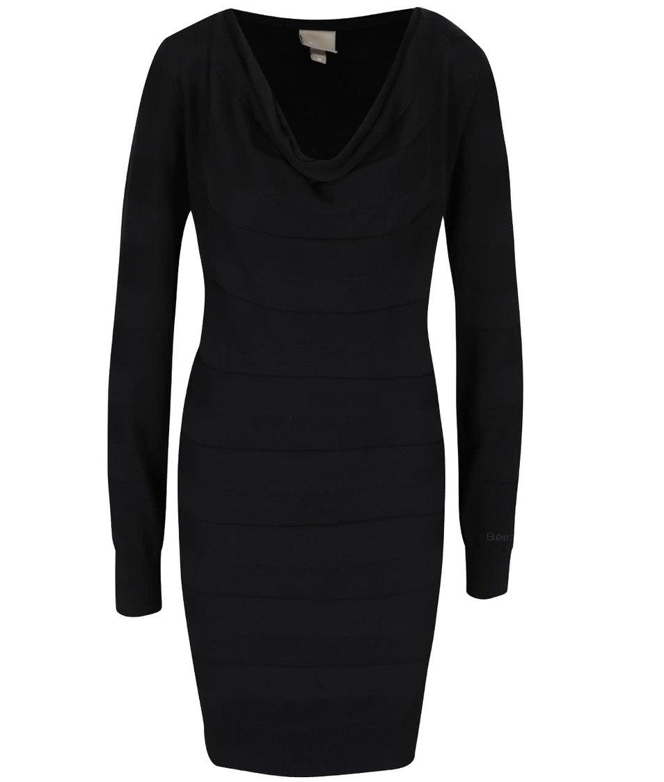 Černé šaty s dlouhým rukávem Bench Declaredround