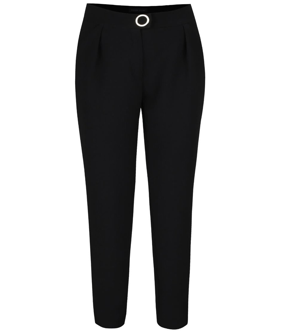 Černé dámské žebrované kalhoty se zvýšeným pasem Pietro Filipi