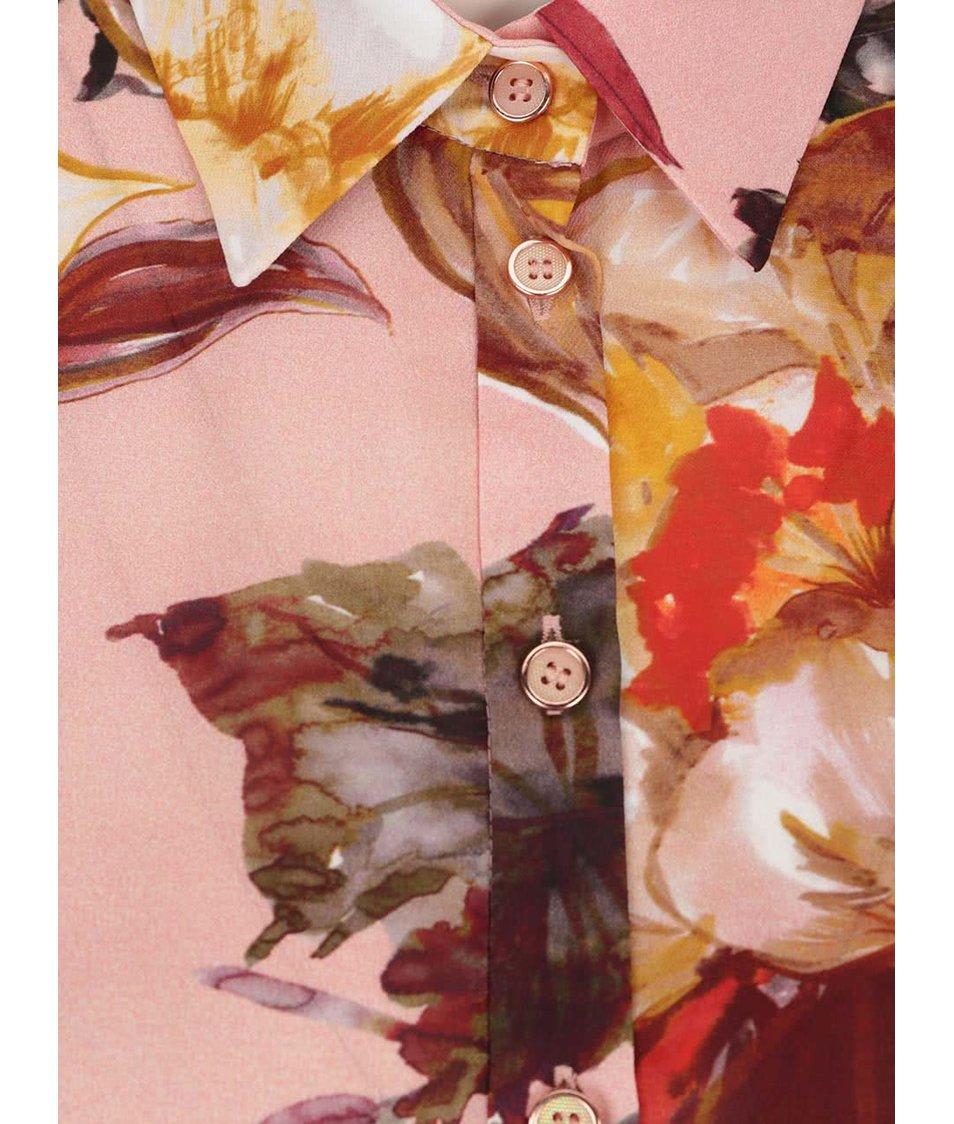Růžová květovaná halenka Pietro Filipi