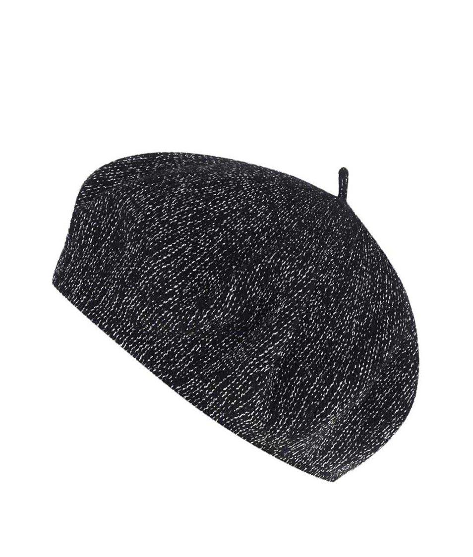 Černá dámská žíhaná vlněná čepice Pietro Filipi