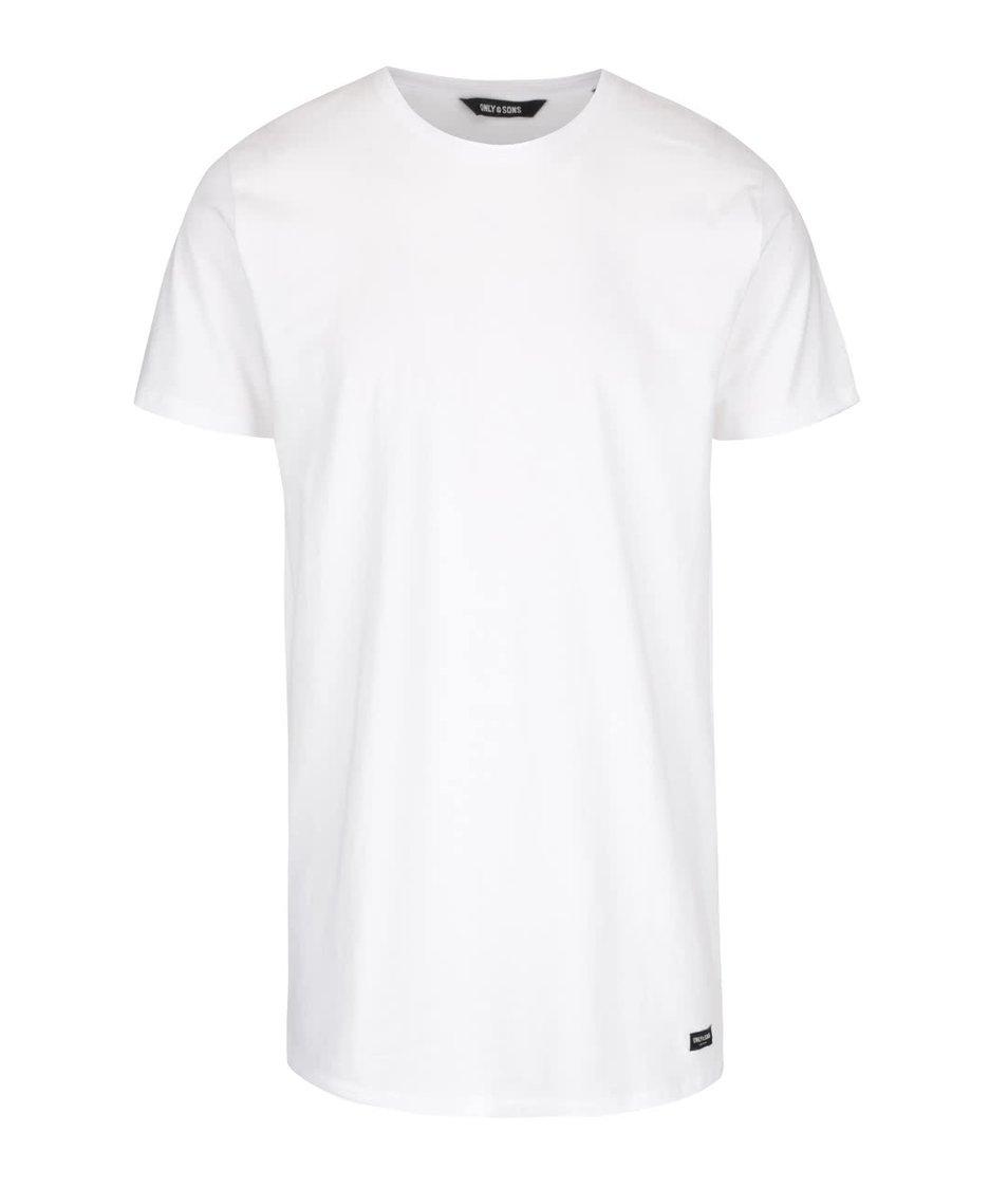 Bílé delší triko ONLY & SONS Long