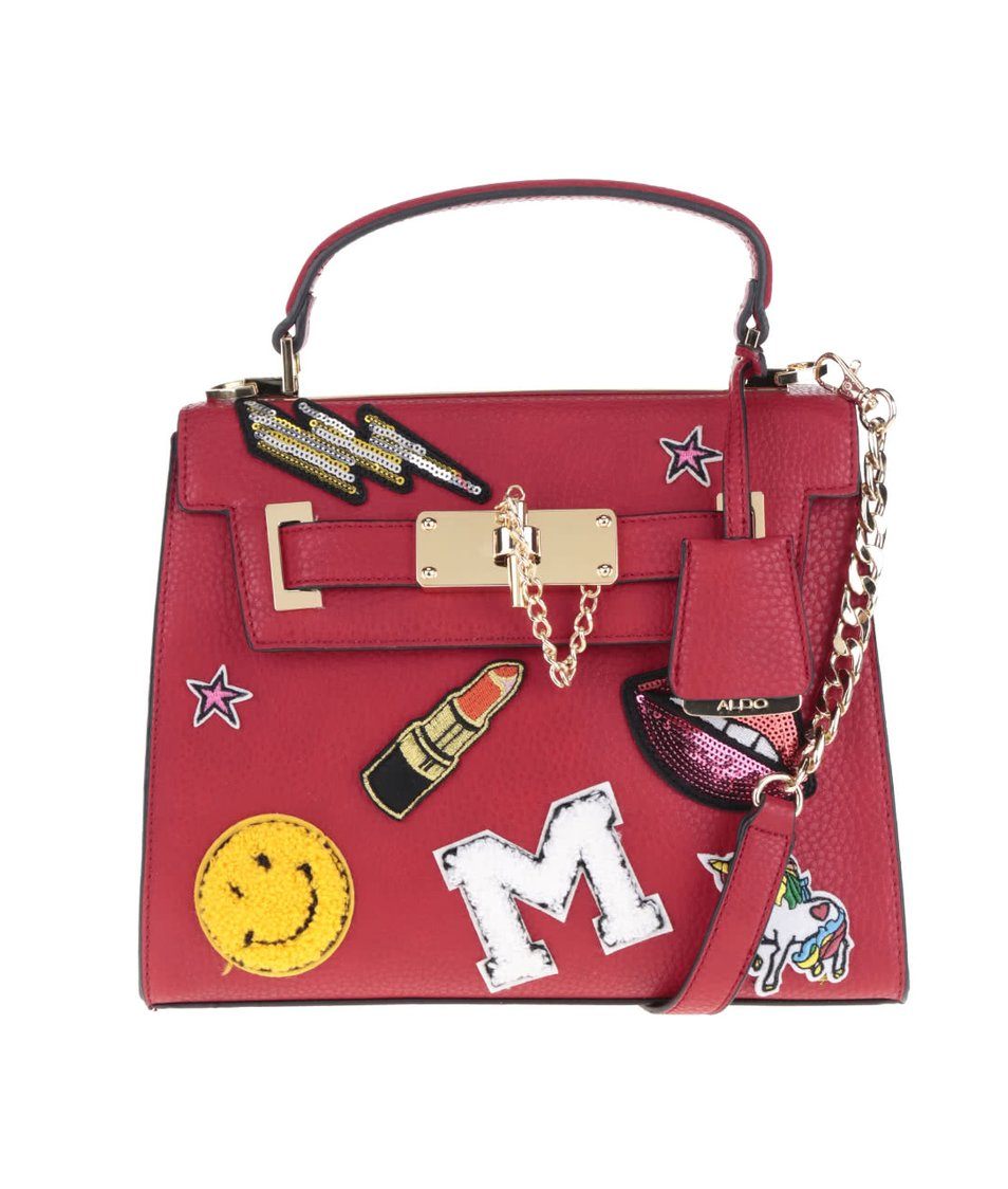Červená kabelka s nášivkami ALDO Spratling