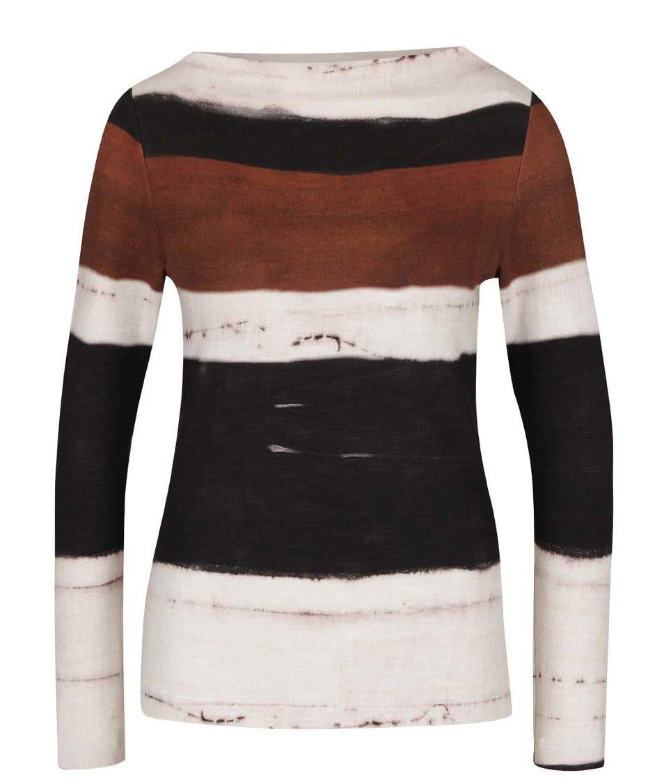 Hnědo-krémové dámské pruhované tričko s dlouhým rukávem Pietro Filipi