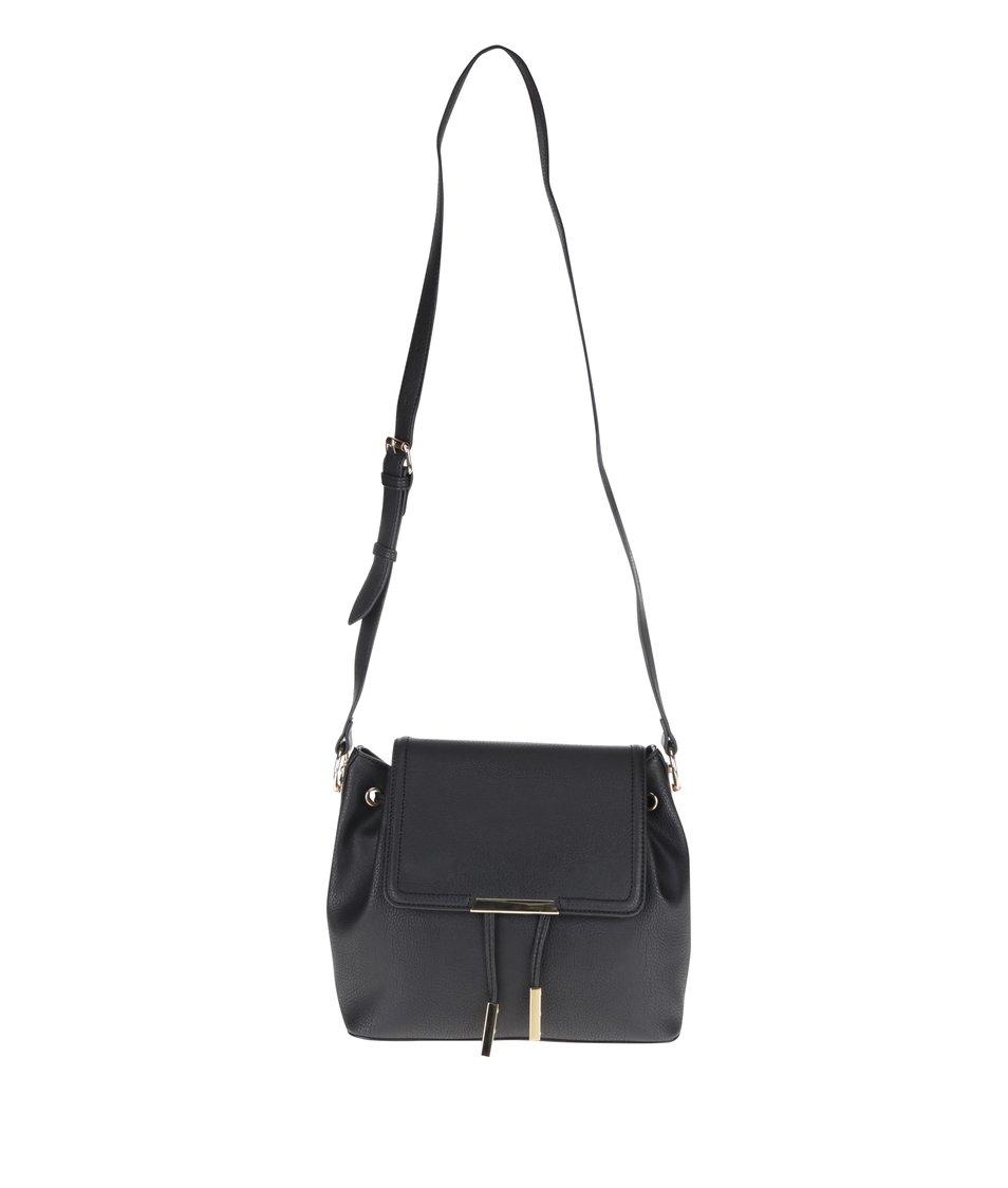 Černá crossbody kabelka s klopou a detaily ve zlaté barvě ALDO Ulaodien