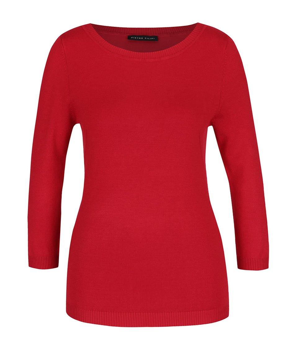 Červený dámský svetr s 3/4 rukávem Pietro Filipi