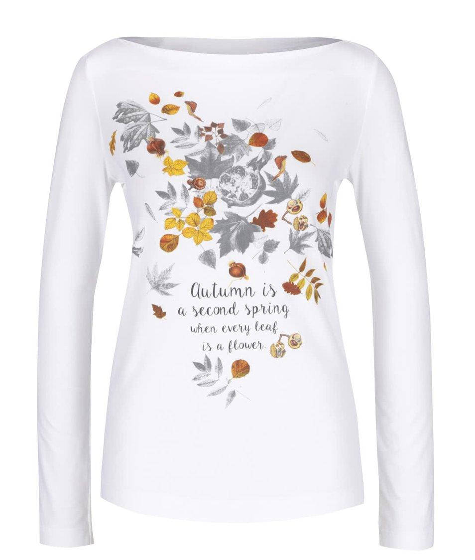 Bílé dámské tričko s potiskem a dlouhým rukávem Pietro Filipi