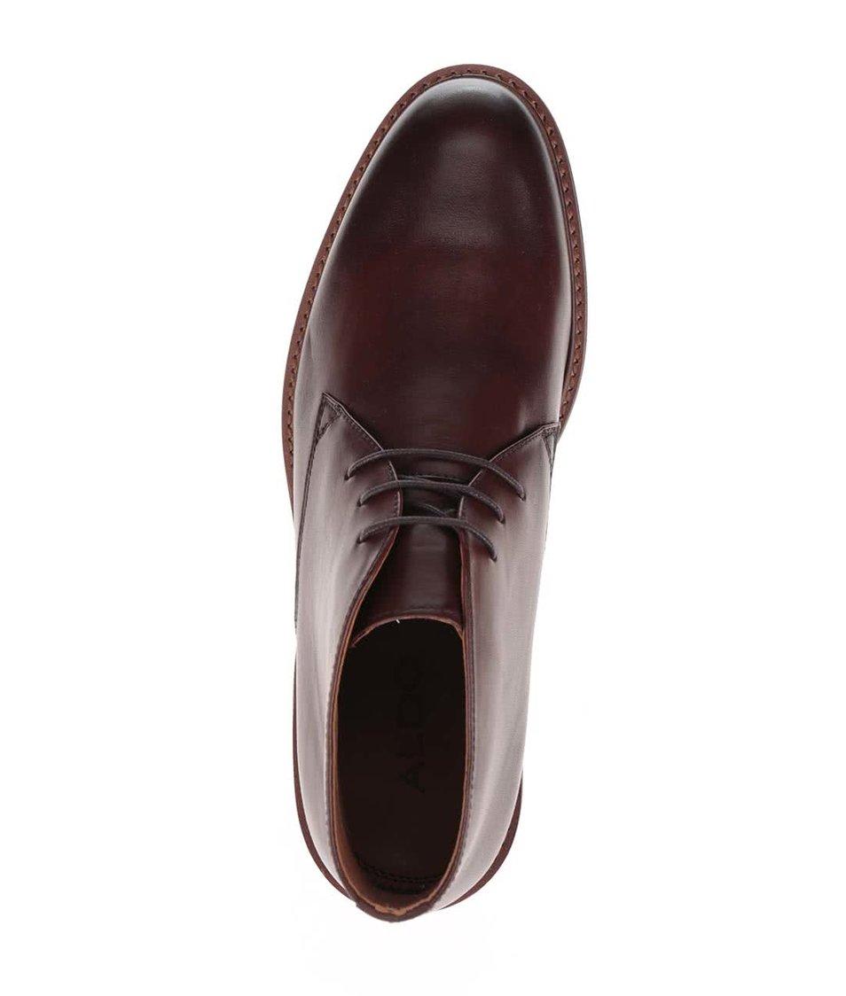 Hnědé pánské kožené kotníkové boty ALDO Granges