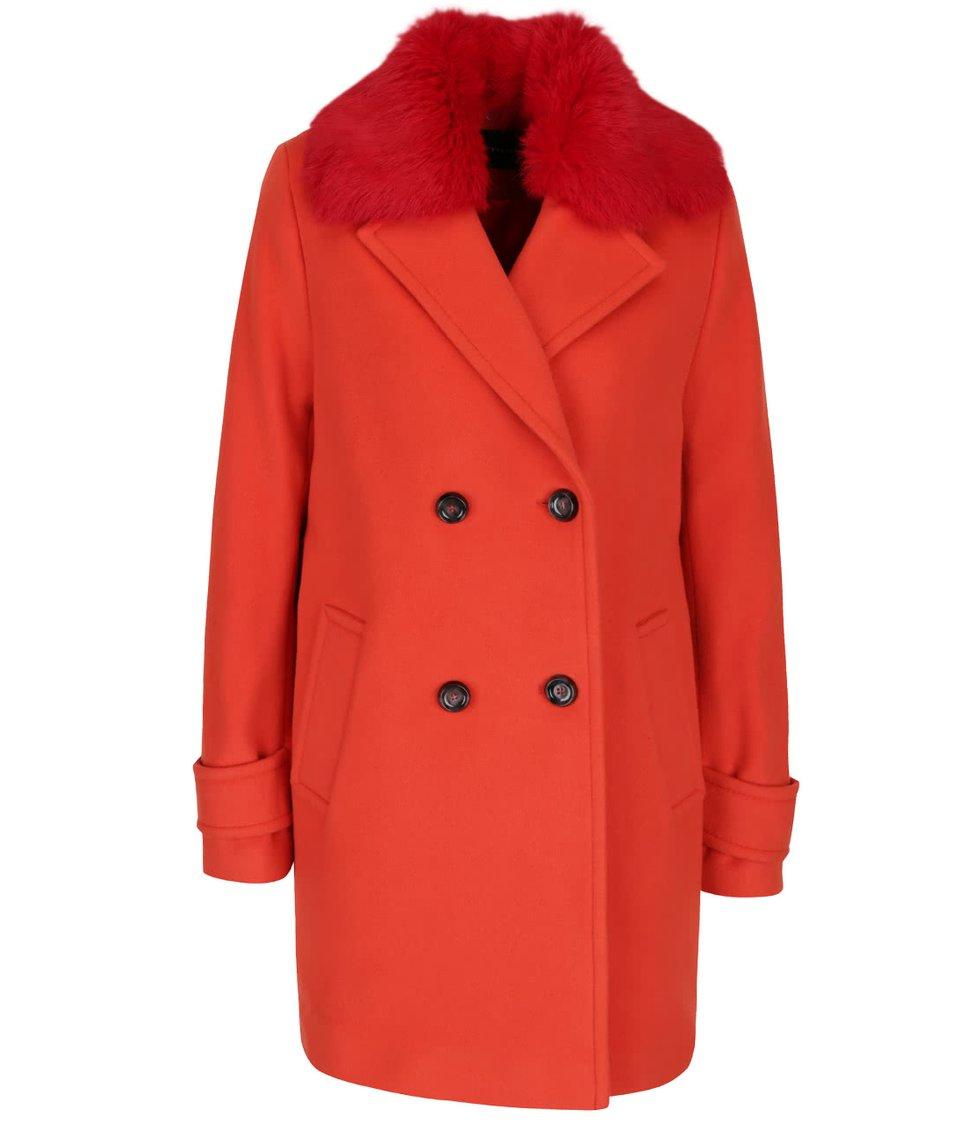 Červený dámský vlněný kabát s umělým kožíškem a příměsí kašmíru Pietro Filipi