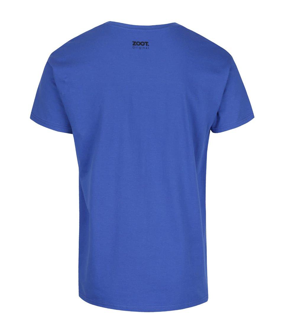 Modré pánské triko s potiskem ZOOT Originál Šťastný a veselý