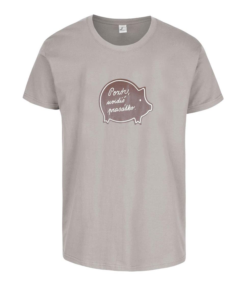 Šedé pánské triko s potiskem ZOOT Originál Vánoční prase