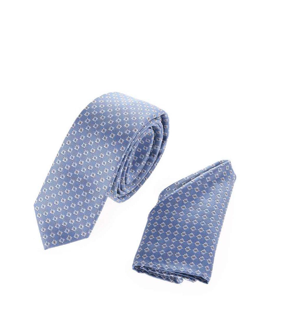 Set světle modré vzorované kravaty s kapesníčkem Burton Menswear London