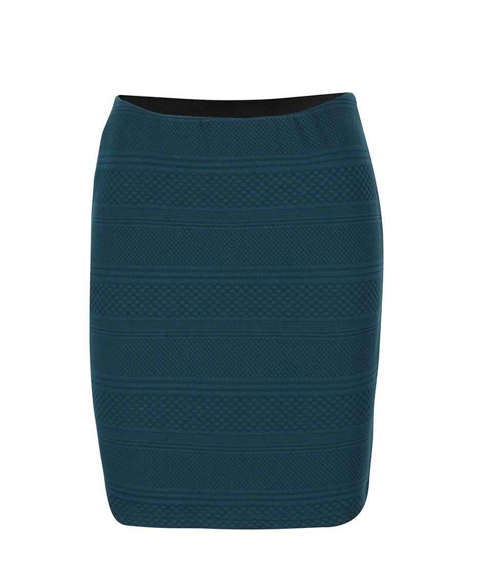 Petrolejová sukně s prošívaným vzorem Vero Moda Kaysa