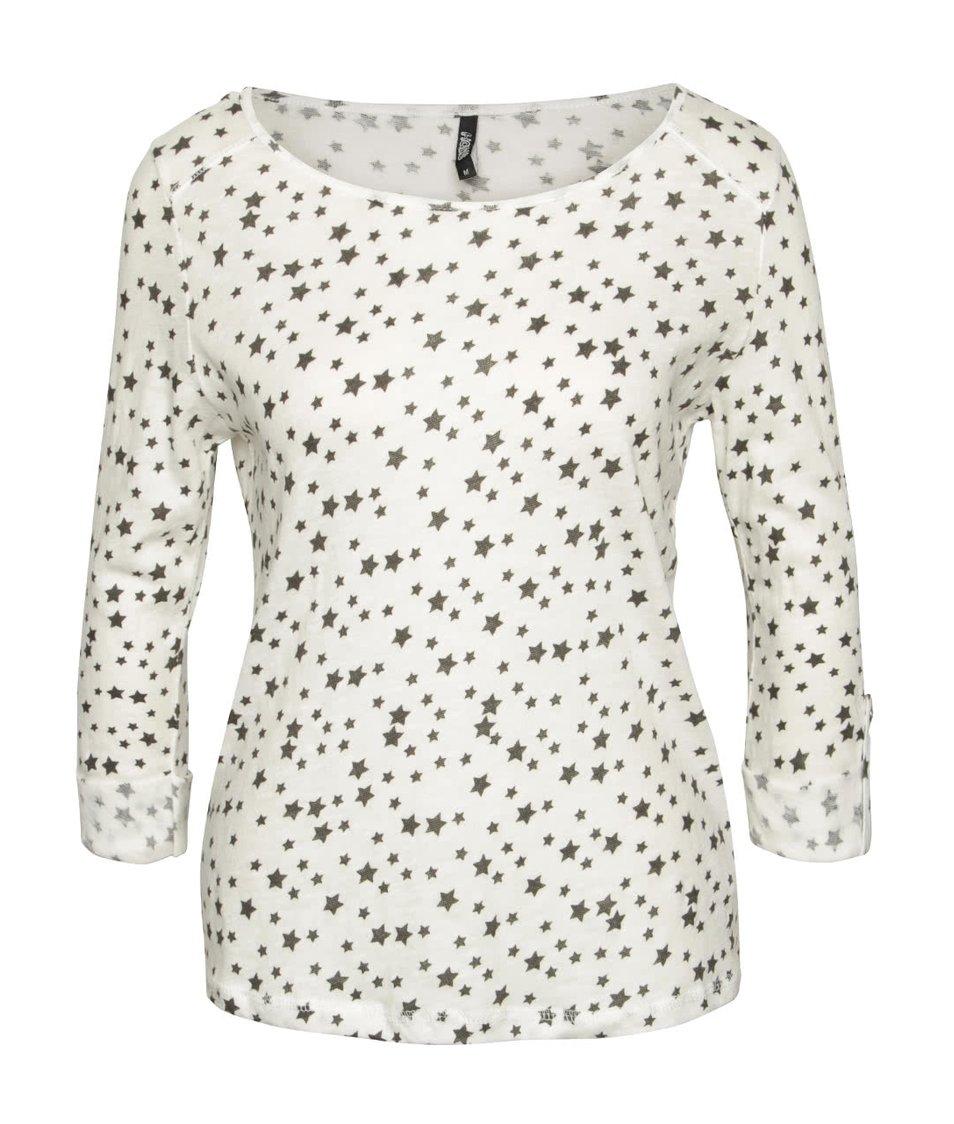 Krémové tričko s motivem hvězd a 3/4 rukávy Haily´s Ocie