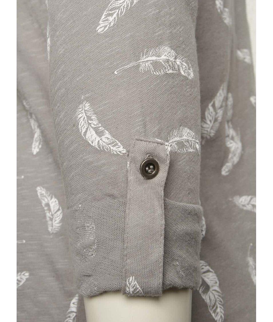 Šedé tričko s motivem pírek a 3/4 rukávy Haily´s Ocie