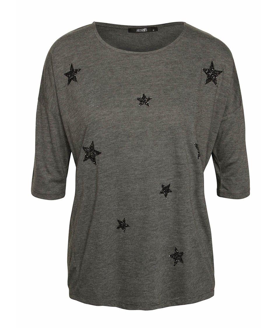 Tmavě šedé volnější tričko s třpytivou aplikací a 3/4 rukávy Haily´s Nancy