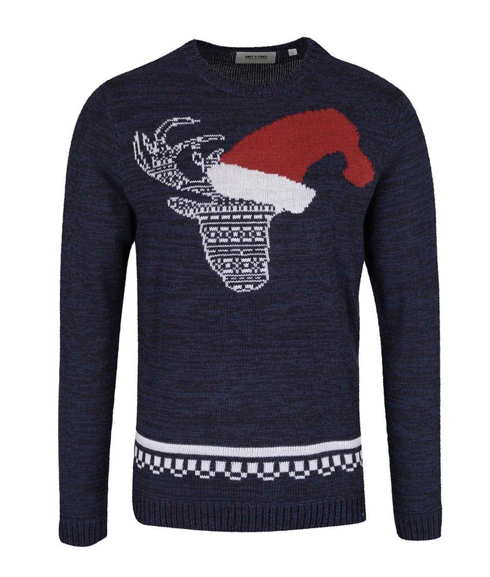Tmavě modrý žíhaný svetr s motivem soba ONLY & SONS Santa