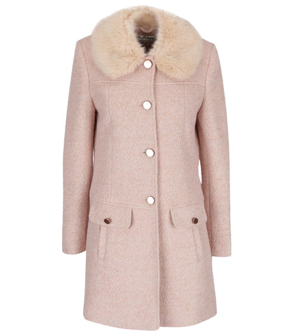 Světle růžový kabát s umělým kožíškem Miss Selfridge
