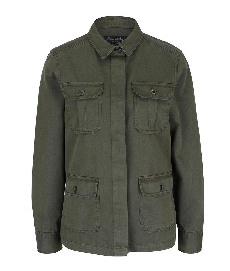 Khaki lehká bunda s kapsami Miss Selfridge