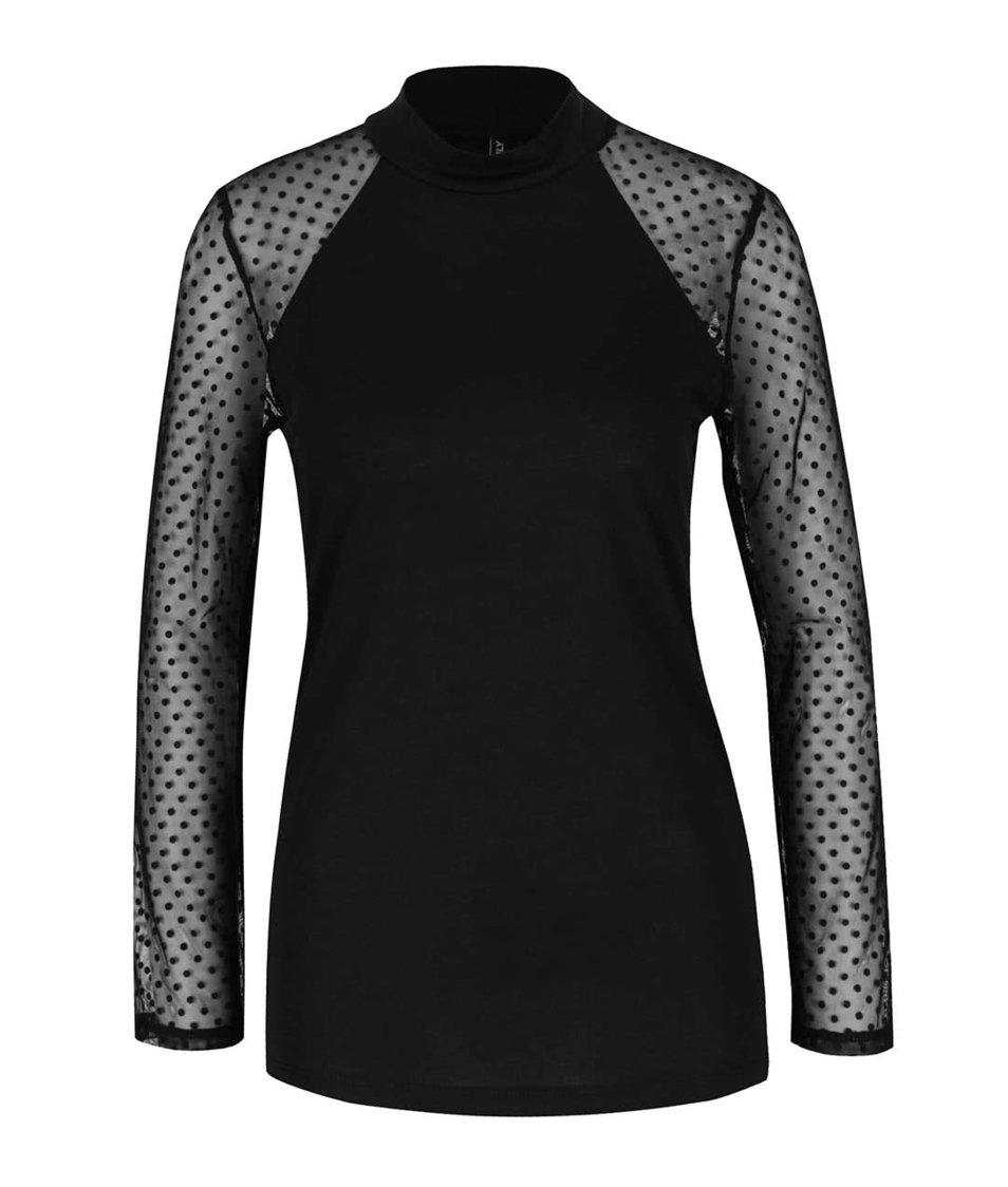 Černé tričko s průsvitnými rukávy s puntíky ONLY Lulu