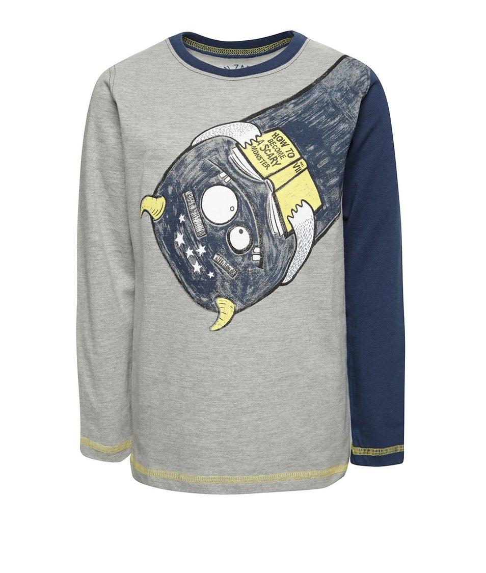 Modro-šedé klučičí triko s potiskem strašidla 5.10.15.