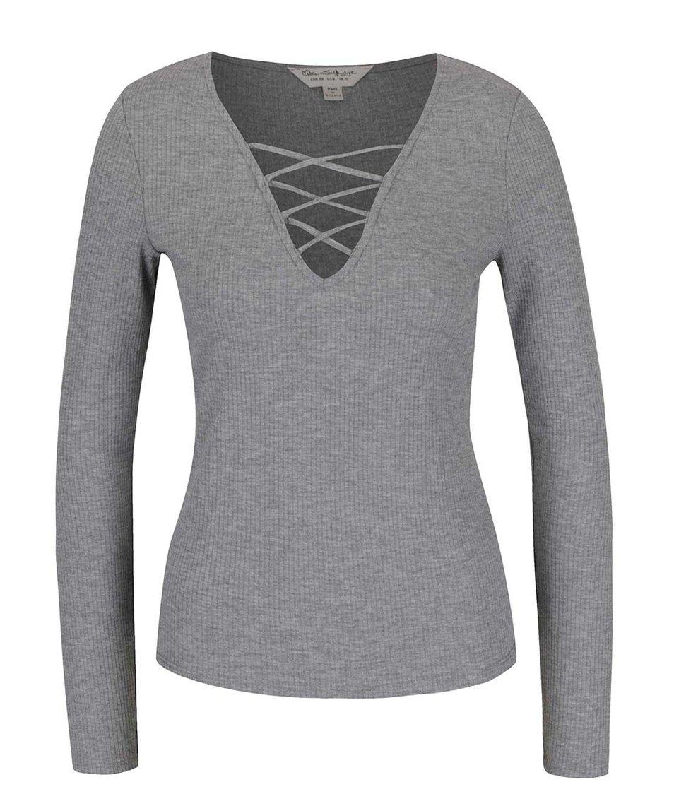 Šedé žebrované tričko Miss Selfridge