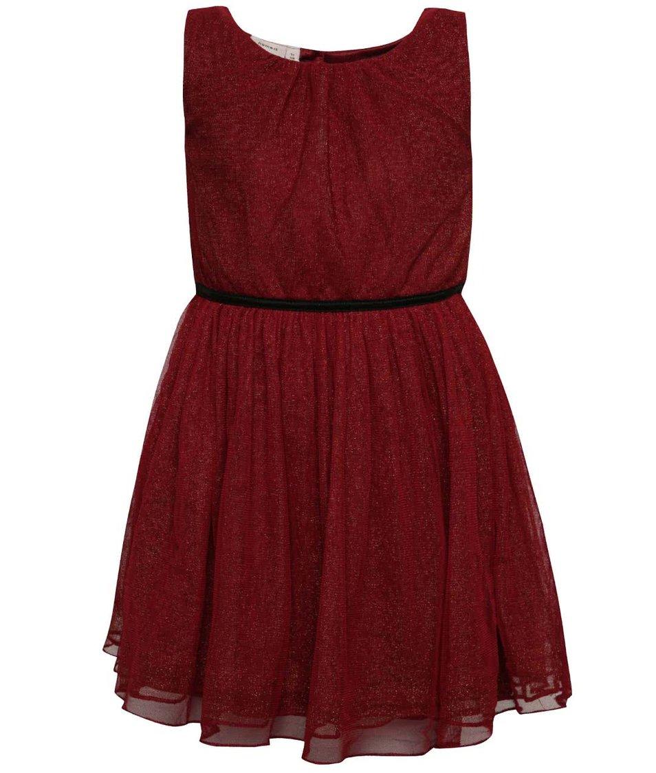 Vínové holčičí třpytivé šaty name it Piboss
