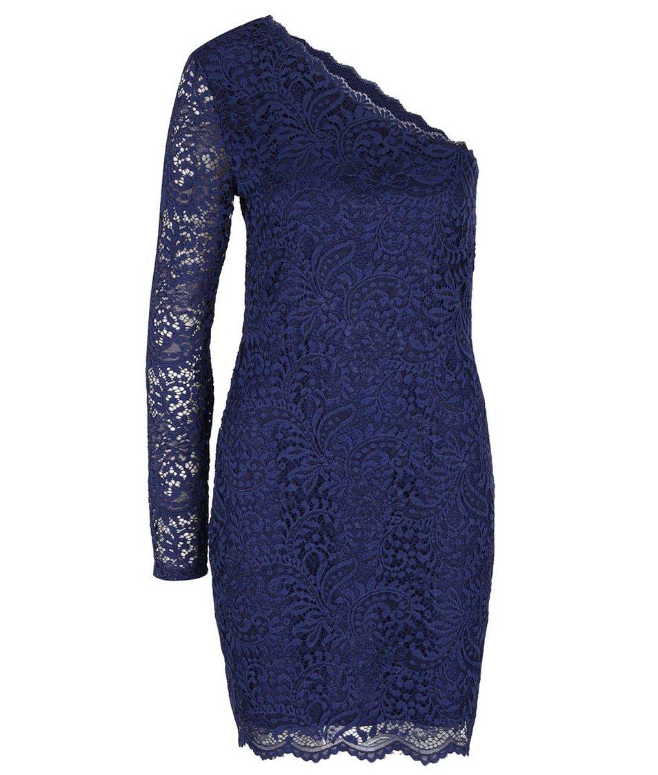 Tmavě modré krajkované šaty s odhaleným ramenem Vero Moda Celeb