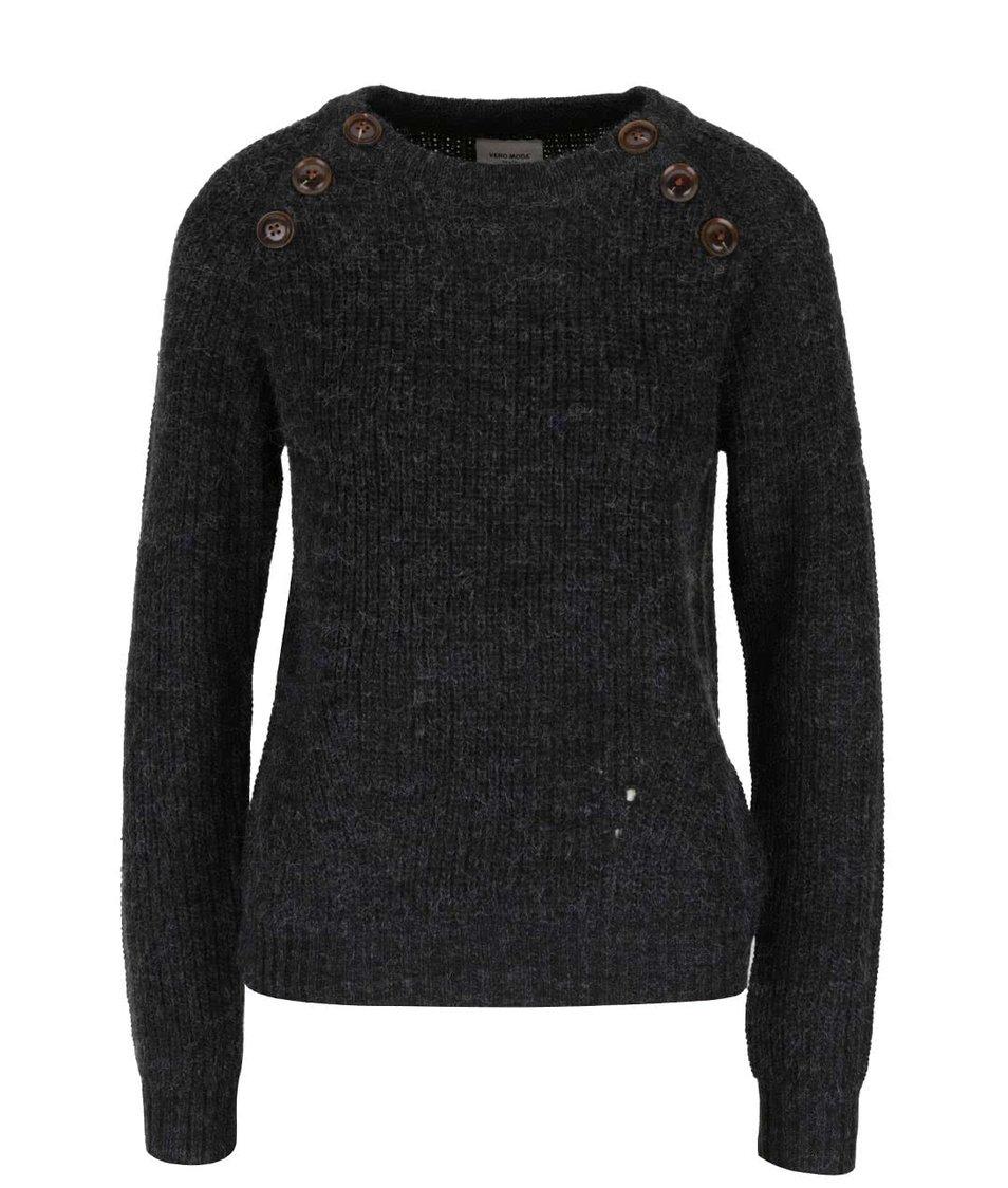 Tmavě šedý žíhaný svetr s ozdobnými knoflíky Vero Moda Joya