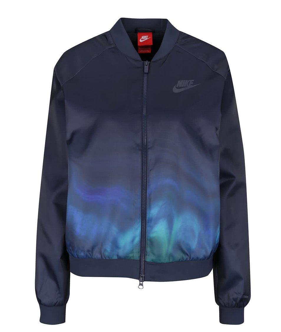 Tmavě modrý dámský bomber s ombré efektem Nike Sportwear