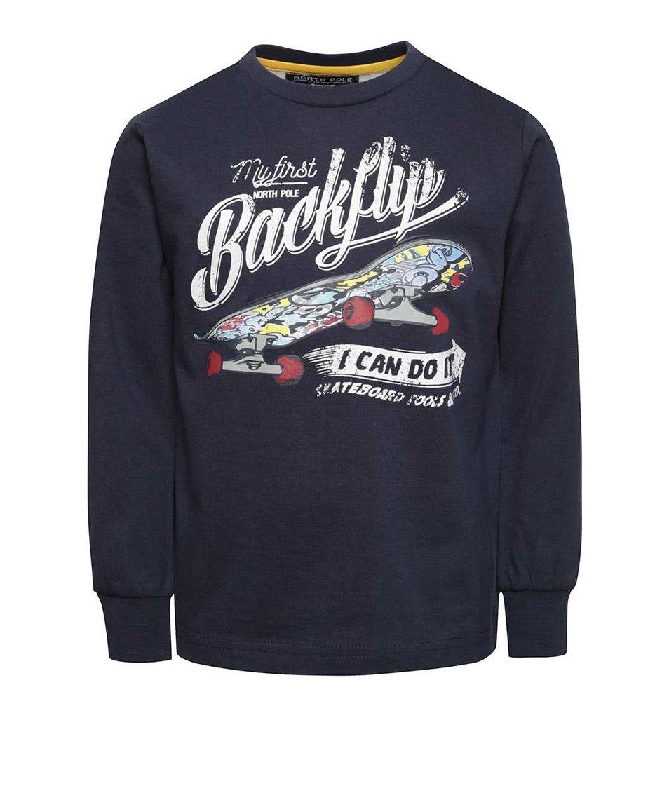 Tmavě modré klučičí tričko s potiskem skateboardu North Pole Kids