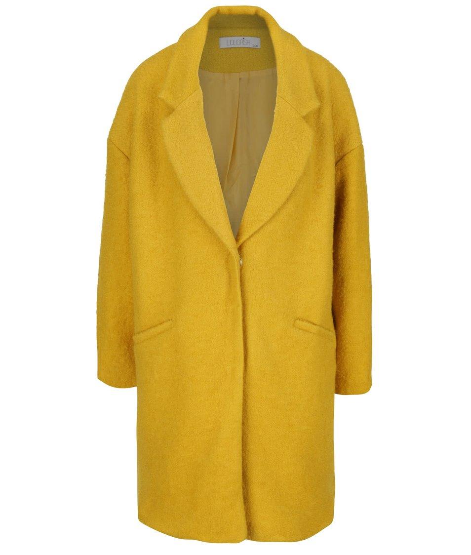 Hořčicový kabát s velkými patenty Liquorish