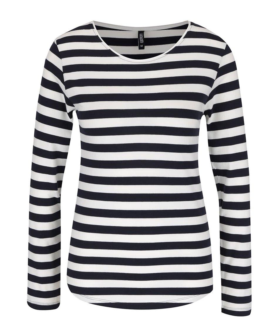 Modro-krémové pruhované tričko s dlouhým rukávem Haily´s Tina
