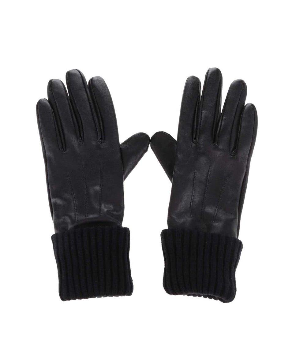 Černé kožené rukavice Pieces Ronja