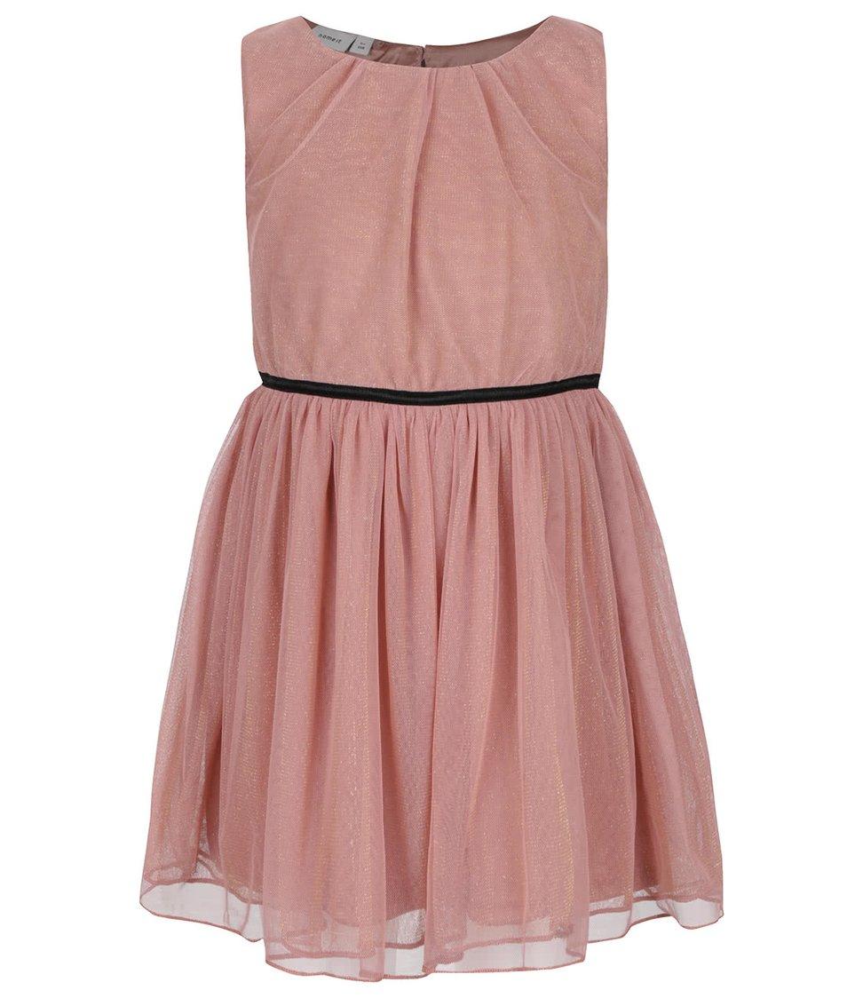 Růžové holčičí šaty s odlesky ve zlaté barvě name it Piboss