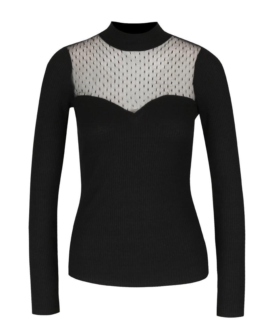 Černé žebrované tričko s průsvitným dekoltem Miss Selfridge
